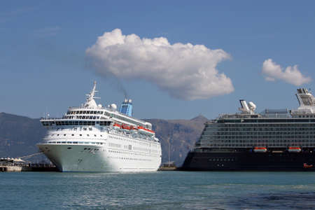cruiser: two cruiser ship in port Corfu Greece
