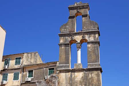 church bell: ruined church bell tower Corfu town Stock Photo