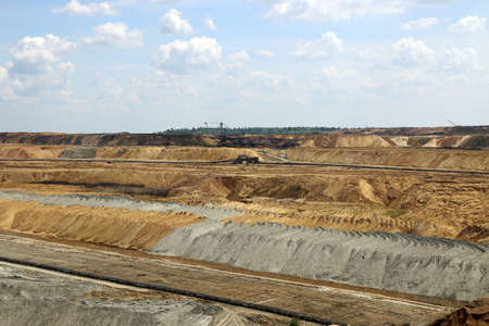 open pit: open pit coal mine with excavators Stock Photo