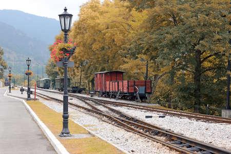 railroad station: railroad station on mountain Stock Photo