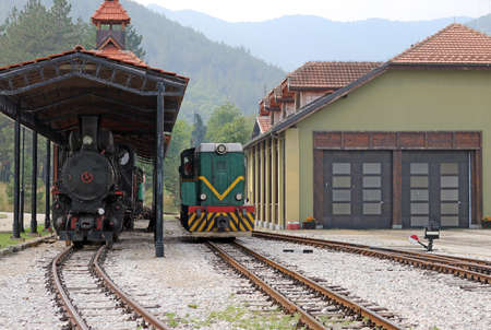 peron: railroad station with old trains