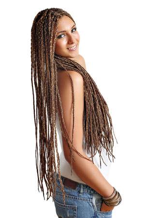 rastas: hermosa ni�a feliz con rastas pelo