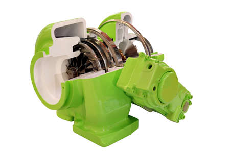 turbocharger: car turbo charger isolated on white background Stock Photo