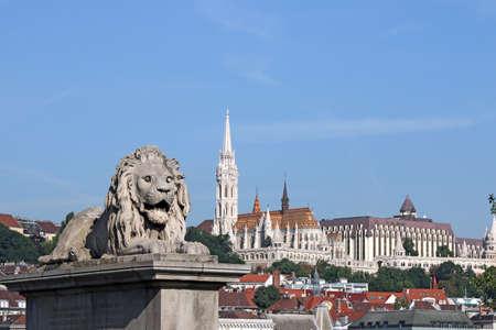 fisherman bastion: Lion statue and Fisherman bastion Budapest
