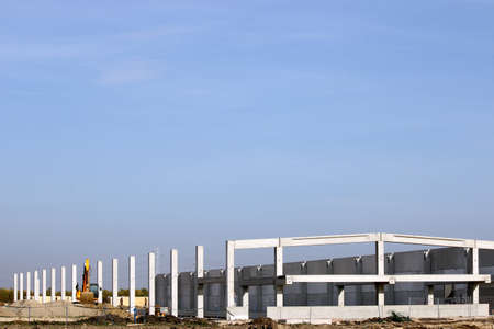concrete construction: new factory construction site industry zone