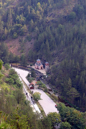 serbia: little church under hill Serbia