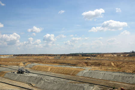 open pit: Open pit coal mine with excavators