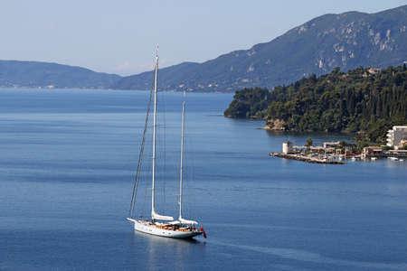 sailboat sailing Corfu island Greece
