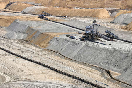 open pit: open pit coal mine with machinery mining industry