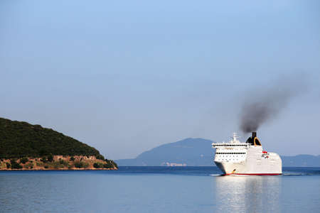 cruiser: cruiser sailing near Corfu island Greece