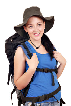 beautiful girl with backpack ready for hiking photo