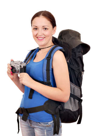 girl with backpack and old camera ready for hiking photo