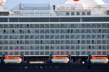 lifeboats: cruiser ship with lifeboats detail