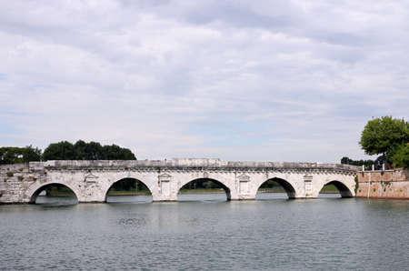 rimini: old Tiberius bridge Rimini Italy