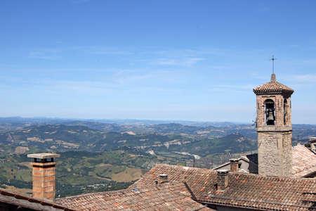 toskana: old church tower San Marino Italy Stock Photo