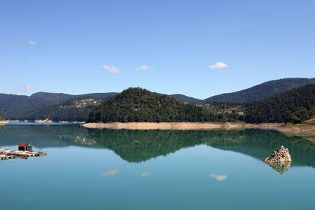 serbia landscape: Zaovine lake on Tara mountain Serbia landscape