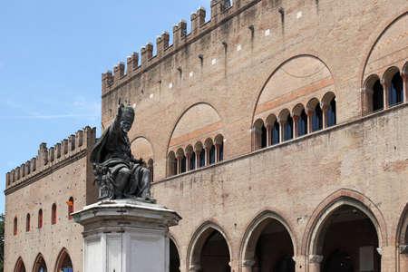 cavour: Pope Paul V statue Cavour square Rimini Italy