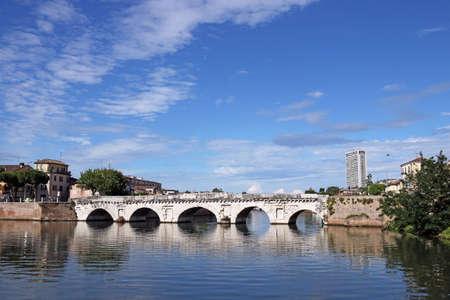 rimini: Tiberius bridge landmark Rimini Italy