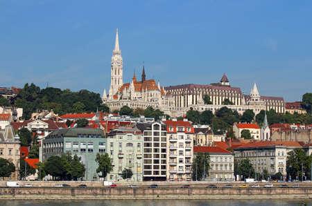 matthias: Fisherman towers on Danube riverside Budapest Hungary Stock Photo