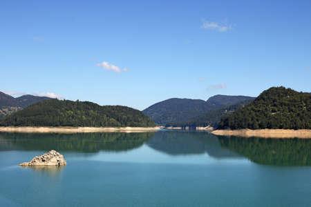 serbia: morning on Zaovine lake Serbia