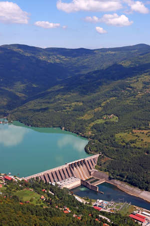 hydroelectric power plant on Drina river landscape