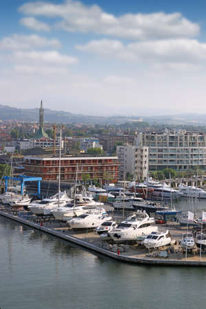 Luxury yachts and boats Rimini port Italy