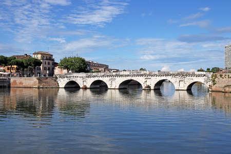 rimini: old stone Tiberius bridge Rimini Italy Stock Photo