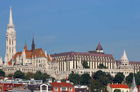 matthias: Fisherman towers and Matthias church Budapest Hungary