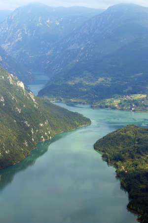 mountains and river canyon landscape