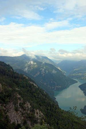 clouds over Tara mountain and Drina river Serbia