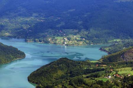 little village on river landscape