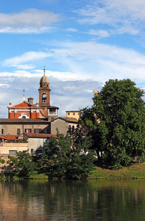 church tower and buildings Rimini Italy Stock Photo