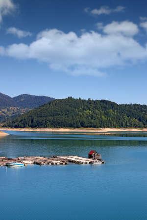 fishpond on mountain lake nature landscape
