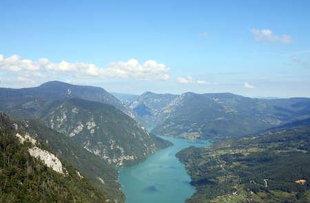 Tara mountain and Drina river canyon landscape summer season Stock Photo