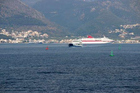 Igoumenitsa port with ferryboat and cruiser Greece