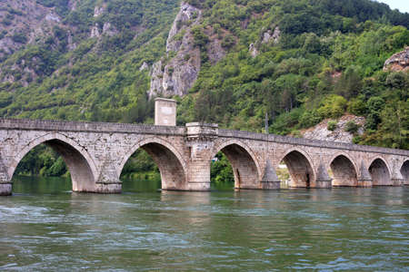 old stone bridge on Drina river Visegrad Bosnia