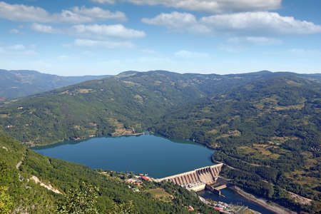Hydroelectric power plant on river landscape Perucac Serbia