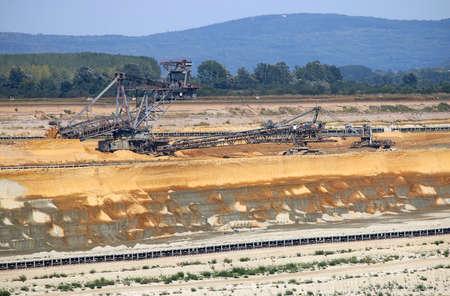 giant excavator digging on open pit coal mine Kostolac Serbia Stock Photo