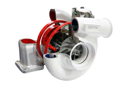 car turbo charger isolated on white Stock Photo