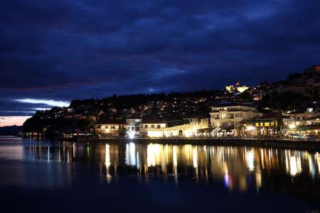 Lake Ohrid and city at night  Stock Photo