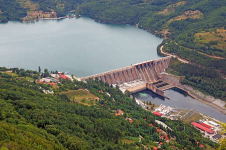 hydroelectric power plant Perucac on Drina river Stock Photo