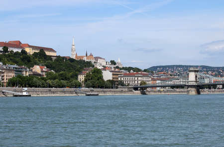 Chain bridge and Fisherman bastion Budapest cityscape Hungary Reklamní fotografie