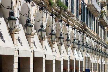 Spianada square Liston Corfu town Greece Foto de archivo
