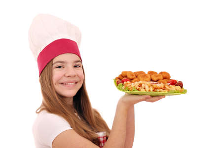 Happy girl cook with chicken nuggets and french fries fast food Stock Photo