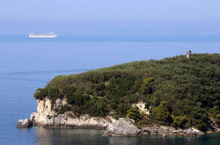 Cruiser ship sails on the Ionian Sea Parga Greece summer season