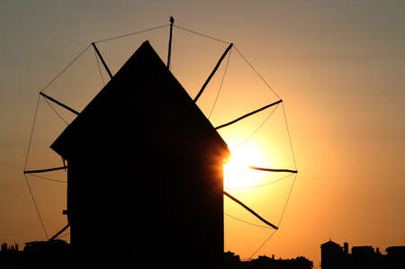 windmill silhouette sunset Nessebar Bulgaria Stock fotó