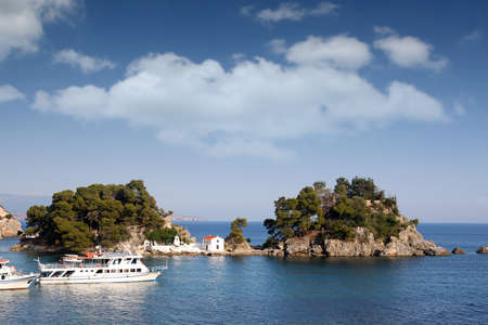 Greek orthodox church on island Panagias Parga Greece summer season Stock Photo