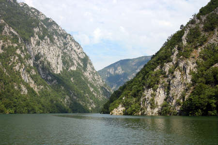 Drina river canyon and mountains in summer landscape