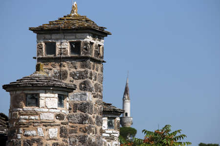 old stone roof and Mosque Ioannina Greece