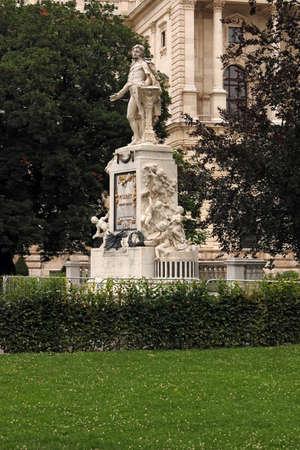 Statue of Wolfgang Amadeus Mozart in Burggarten park Vienna Austria